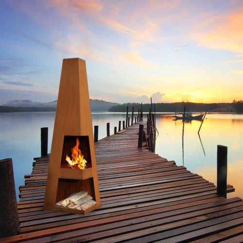 Corten Steel Outdoor Fireplaces